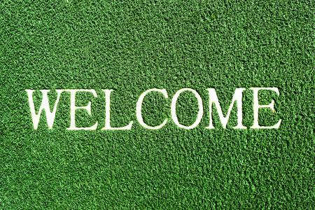 doormat: welcome doormat green color Stock Photo