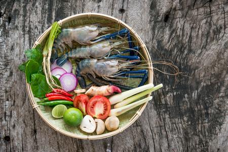 rosenbergii: Giant freshwater prawn and ingredient for tom yum goong, thai food Stock Photo