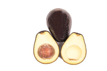 ripen: ripen avocado on white background Stock Photo