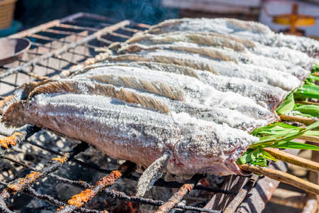 snakehead: salted grill snakehead fish Stock Photo