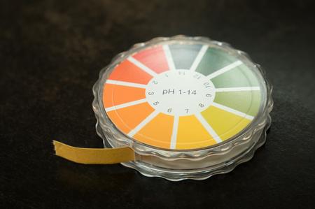 ph: Close-up of a pH paper test