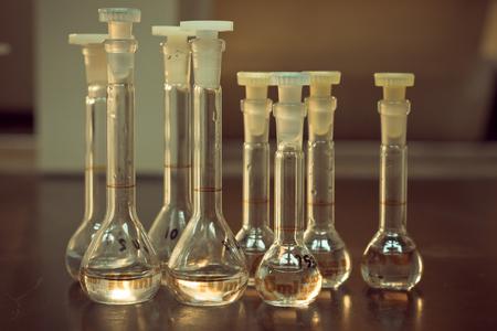 liquids: Science Laboratory glassware solution with liquids Stock Photo