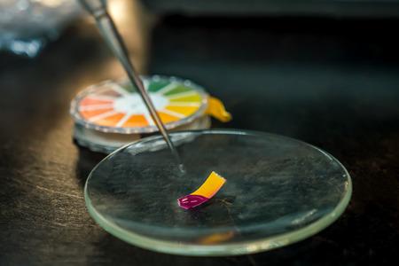 Close-up di una carta indicatrice con test di acidità