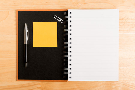 recycle notebook open with pen , Paper clip and post it paper note Stock Photo