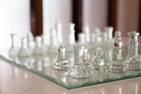 Chess on white marble