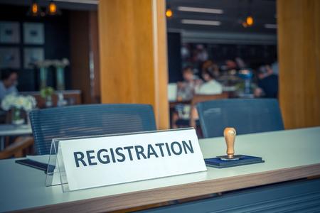conference center: registration desk in conference center