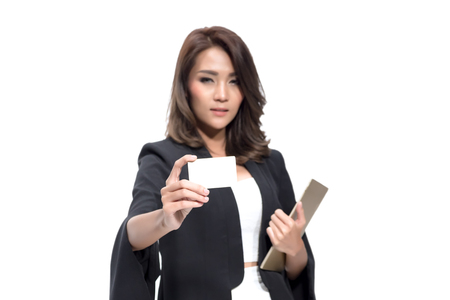 hot secretary: business woman showing business card , focus on card Stock Photo