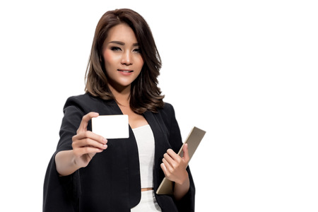 hot secretary: business woman showing business card , focus on face