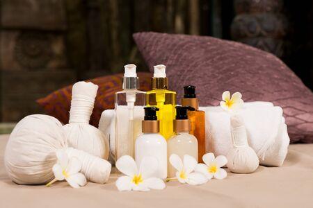 revitalize: spa massage setting, nature product Stock Photo
