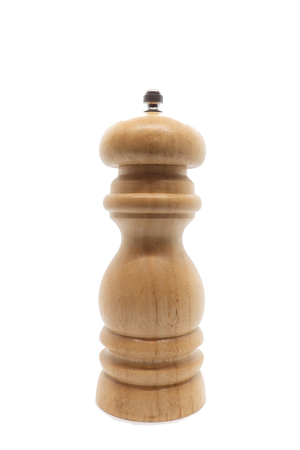 Front view of wooden peppermill on white background Foto de archivo - 122022741