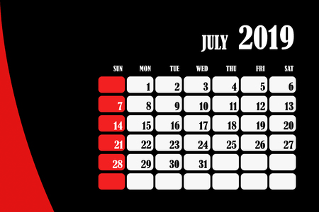Desk calendar 2019 July design layout template vector for corporate business week start on Sunday Foto de archivo - 127461486