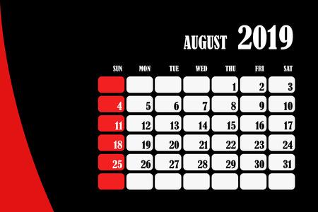 Desk calendar 2019 August design layout template vector for corporate business week start on Sunday Foto de archivo - 127461487
