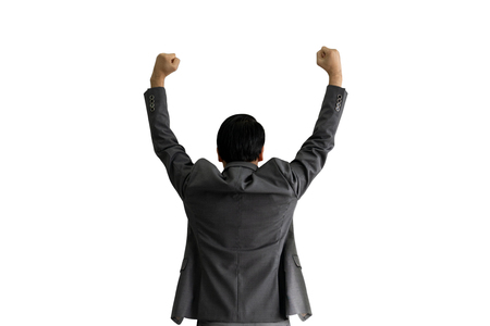 back of successful business man raising hand isolated on white background, businessman success concept. Foto de archivo - 122022748