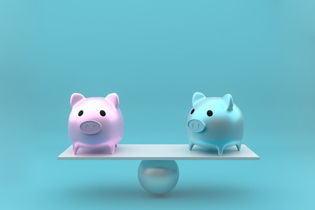 piggy bank in side view stands on a wooden seesaw balanced, 3d rendering