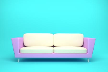 Pink and White Leather sofa design in light blue background, 3D rendering illustration Foto de archivo - 122022814