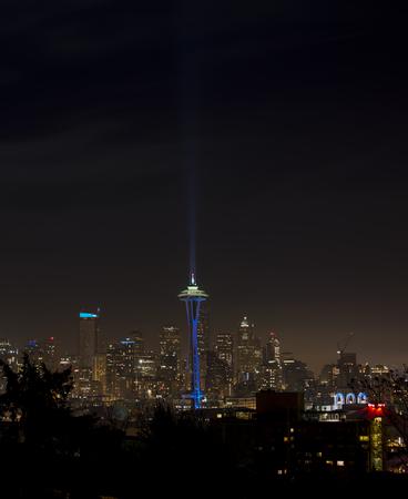 seahawks: Space Needle en Seattle en la noche, imagen vertical