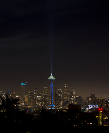 space needle: Space Needle in Seattle at night, vertical image Stock Photo