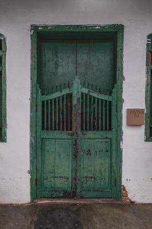 green door: Green door in old stone house