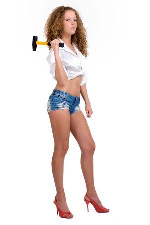 hummer: Beautiful girl holding yellow hummer