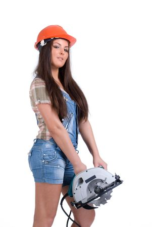 circ saw: Young woman in orange helmet holding buzz saw