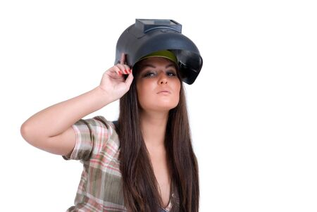 Young woman in black welder`s mask photo
