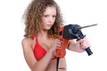 perforator: Beautiful girl holding perforator drilll with big auger