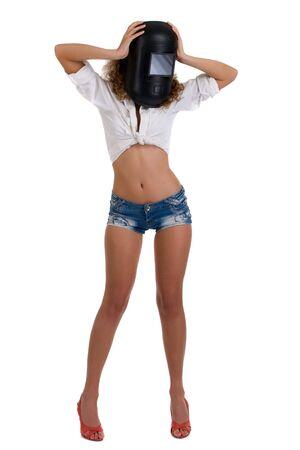 shorts: Hermosa ni�a rizada en m�scara de soldador cerrado Foto de archivo