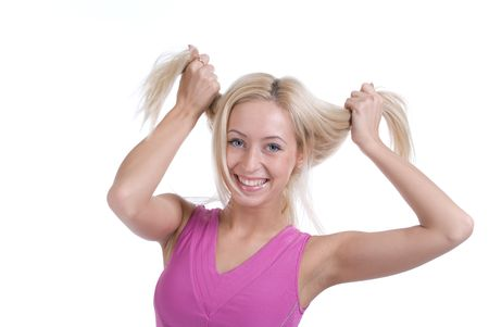slavonic: Beautiful slavonic woman play with hair