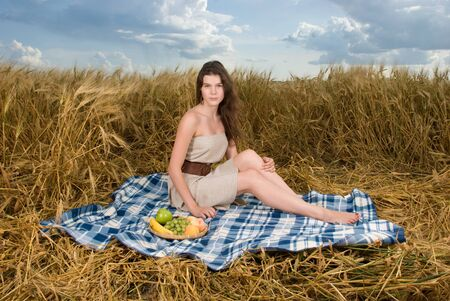 slavonic: Beautiful slavonic girl on picnic in wheat field