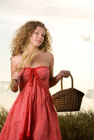 slavonic: Beautiful slavonic girl pose in wheat field with basket Stock Photo