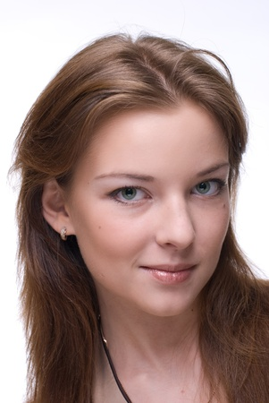 Closeup portrait of beautiful girl with green eyes and clear makeup Stock Photo - 8433830