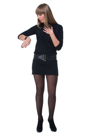 sure: Portrait of young sure business woman in black dress and stocking Stock Photo