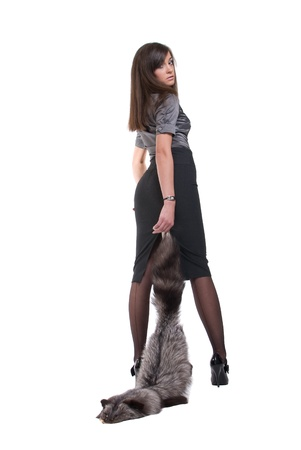 suit skirt: Portrait of young emotional business woman with fur