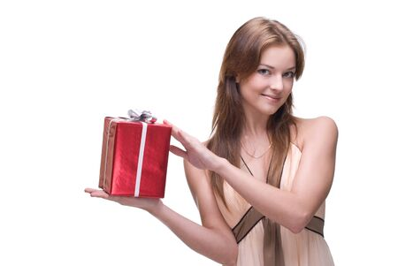 Closeup portrait of beautiful girl with green eyes, clear makeup and some gifts Stock Photo - 8506267