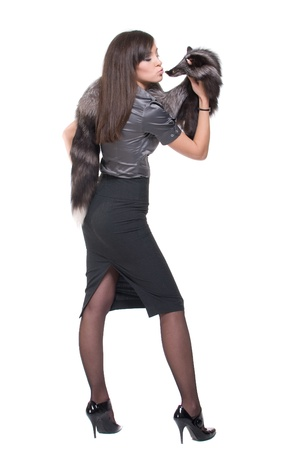 Portrait of young emotional business woman with fur Stock Photo - 8513236