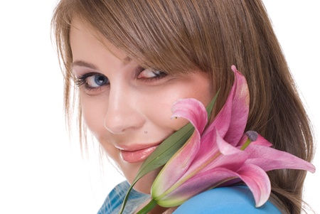Close up portrait of young and Beautiful woman with flower and clear make up Stock Photo - 8557176