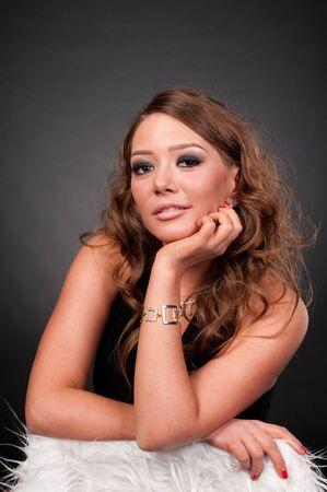 Close up portrait of beautiful elegance fashion glamour woman on black photo