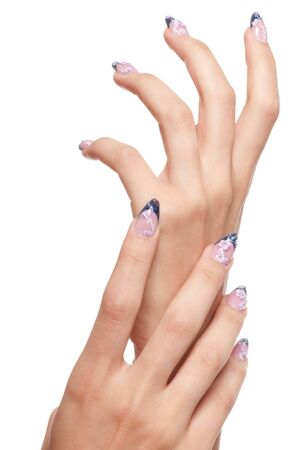 Closeup hands nail art zone. Pink and blue with jewel. High resolution. Stock Photo - 8571944