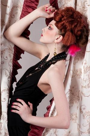 Closeup portrait of beautiful fashion woman posing with silck fabric. Stock Photo - 8830193