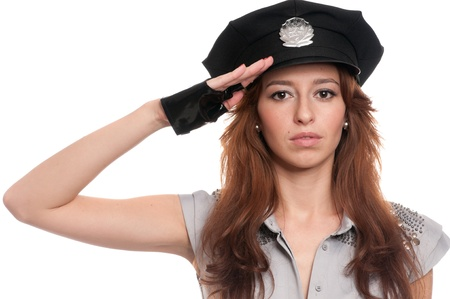 Young beautiful police woman posing in sexy costume isolated on white Stock Photo - 8877483
