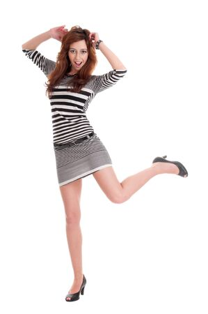 Young beautiful prisoner woman fun posing in costume isolated on white Stock Photo - 8877272