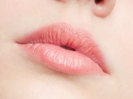 sexual girl: Close-up face of beauty young woman - lips make-up zone Stock Photo