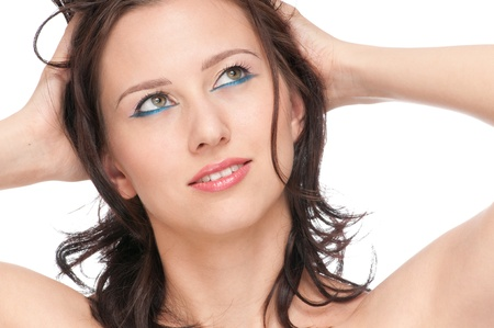 Close-up portrait of beauty woman face with perfect skin and blue makeup Stock Photo - 9068775