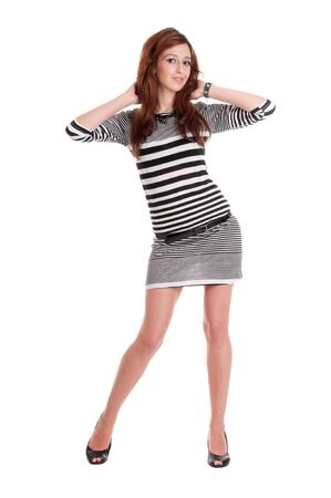Young beautiful prisoner woman fun posing in costume isolated on white Stock Photo - 9109063
