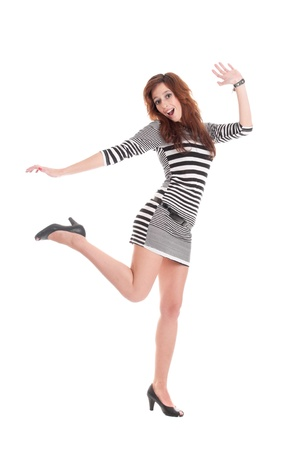Young beautiful prisoner woman fun posing in costume isolated on white Stock Photo - 9109044