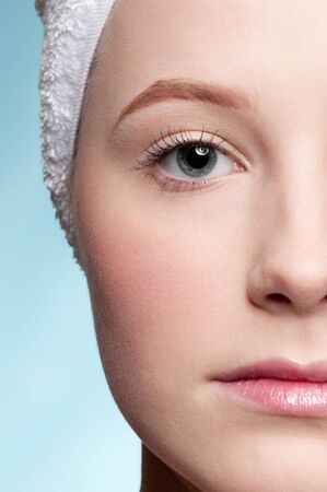 Close-up portrait of young adult woman with perfect health skin of face. Half Stock Photo - 9186244