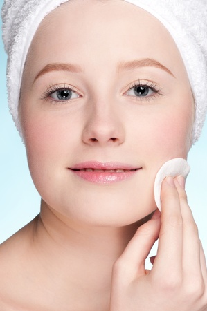 Close-up face of beauty young woman applying sponge Stock Photo - 9186243