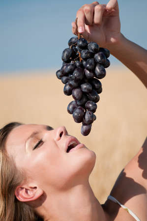 Beautiful woman with perfect hair and skin posing in wheat field and eating grapes. Summer picnic. Stock Photo - 9293000
