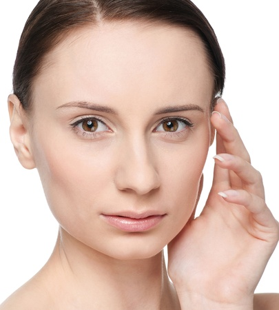 Closeup portrait of young beautiful woman with perfect skin Stock Photo - 9339106