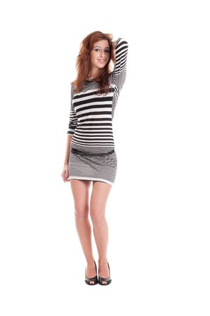 Young beautiful prisoner woman fun posing in costume isolated on white Stock Photo - 9339082